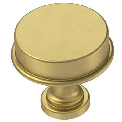 Classic Elegance 1-5/16 in. (33 mm) Brushed Brass Round Cabinet Knob