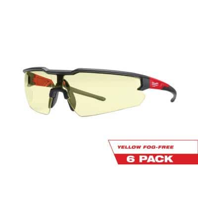 Safety Glasses with Yellow Fog-Free Lenses (6-Pack)