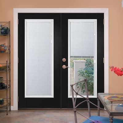 60 in. x 80 in. Jet Black Steel Steel Prehung Left-Hand Inswing Mini Blind Patio Door in Vinyl Frame with Brickmold