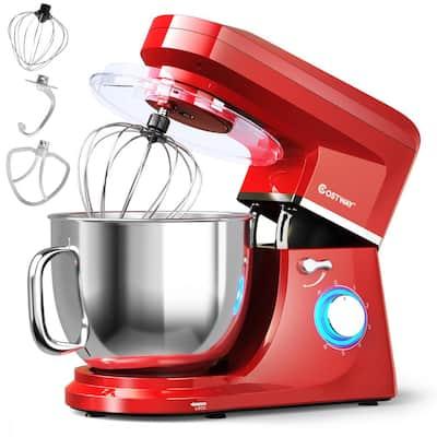 660-Watt 7.5 qt. 6-Speed Red Stainless Steel Stand Mixer with Dough Hook Beater