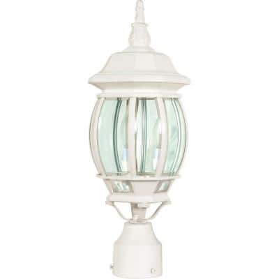 Central Park 3-Light White Outdoor Post Lantern with Clear Beveled Glass Shade