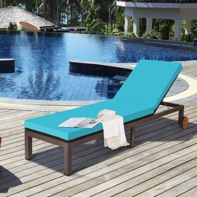1-Piece Metal Outdoor Chaise Lounge with Turquoise Cushion