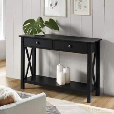 Ramsey 42 in. Black Standard Rectangle Wood Console Table with Drawers