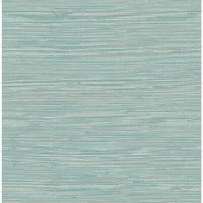 Tibetan Grasscloth Teal Blue Wallpaper Sample
