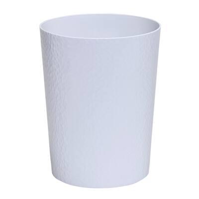 Hammered Round Trash Bin, White