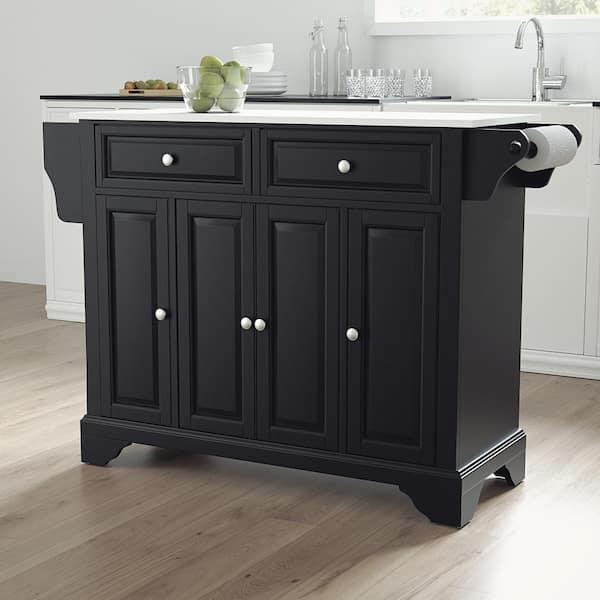 Crosley Furniture Lafayette Black Full Size Kitchen Island Cart With Granite Top Kf30005bbk The Home Depot