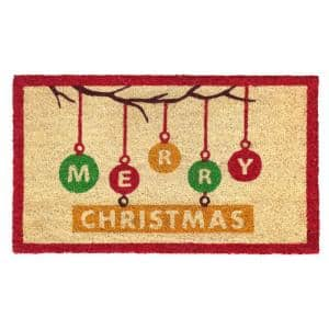 Multi 18 in. x30 in. Machine Tufted Ornaments Merry Christmas Doormat