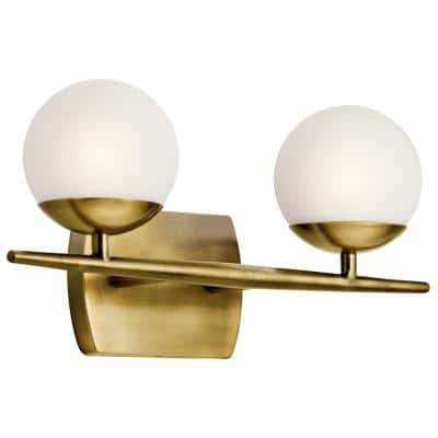 Jasper 6.25 in. 2-Light Natural Brass Vanity Light with Etched Glass Shade
