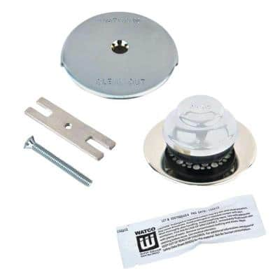 Universal NuFit Foot Actuated Bathtub Stopper with Grid Strainer and One Hole Overflow Silicone Kit in Chrome Plated