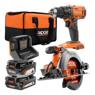 18V Cordless 1/2 in. Drill/Driver and 6-1/2 in. Circular Saw Combo Kit with 2.0 Ah and 4.0 Ah Battery, Charger, and Bag