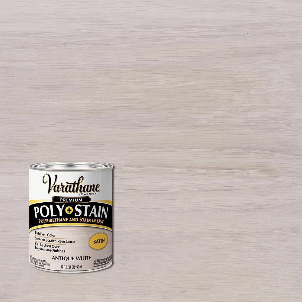 1 qt. Anitque White Satin Semi-Transparent Oil-Based Interior Wood Polyurethane and Stain