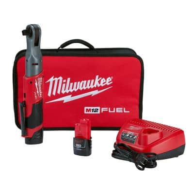 M12 FUEL 12-Volt Lithium-Ion Brushless Cordless 1/2 in. Ratchet Kit W/ (2) 2.0Ah Batteries, Charger & Tool Bag