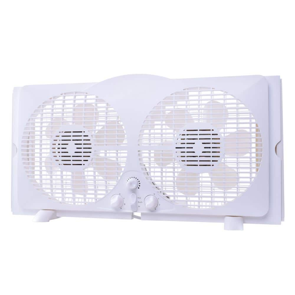 Small Window Fan Twin Reversible Quiet 9-in Double Adjustable Expandable Kitchen