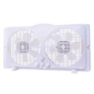 65-Watt 9 in. White Reversible Twin Window Fan