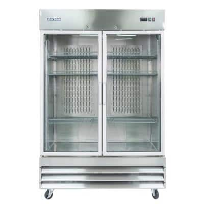 54 in. W 48 cu. ft. 2-Glass Door Reach-In Commercial Refrigerator in Stainless