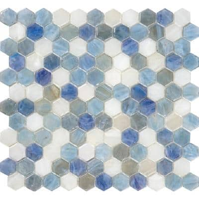 10 pack 10.8-in x 11.5-in Light Blue Hexagon Honed Glass Mosaic Floor and Wall Tile (8.63 Sq ft/case)