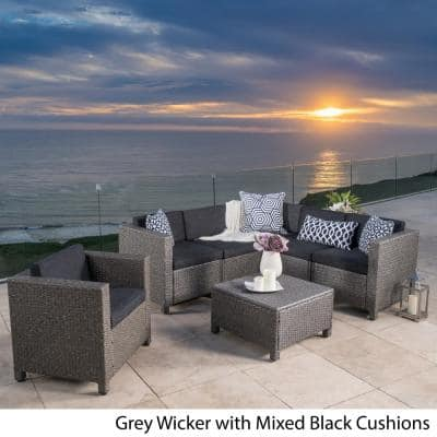 Puerta Mixed Black 7-Piece Wicker Outdoor Sectional Set with Dark Grey Cushions
