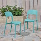Katherina Teal Armless Plastic Outdoor Dining Chairs (2-Pack)