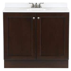 Vanity Pro All-In-One 36.5 in. W Vanity in Chestnut with Cultured Marble Vanity Top in White with White Sink