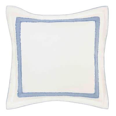 Mila Blue Cotton Blend 1-Piece 26 in. x 26 in. European Sham