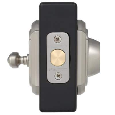 Prestige Carnaby Satin Nickel Exterior Entry Knob and Single Cylinder Deadbolt Combo Pack Featuring SmartKey Security