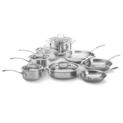 13-Piece Stainless Steel Kitchen Pot and Pan Cookware Set