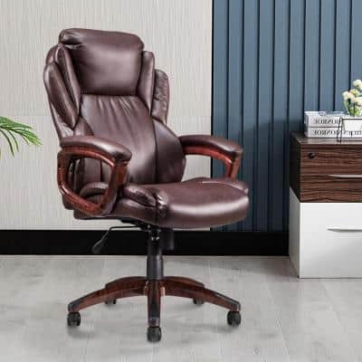 25.8 in. Width Big and Tall Brown Faux Leather Executive Chair with Adjustable Height