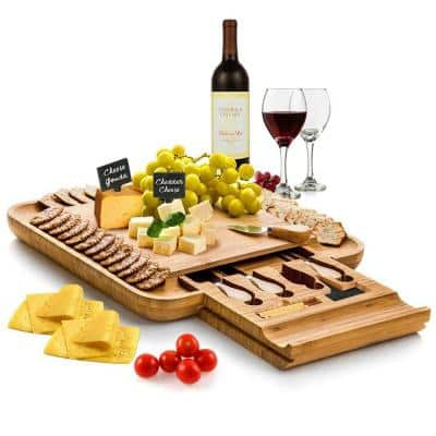 Bamboo Cheese Board and Cutlery Set with Slide Out Drawer