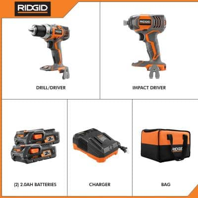 18-Volt Lithium-Ion Cordless Drill/Driver and Impact Driver 2-Tool Combo Kit with (2) 2.0 Ah Batteries, Charger, and Bag
