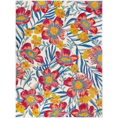 Tropical Flowers Multi-Colored 8 ft. x 10 ft. Floral Indoor/Outdoor Area Rug