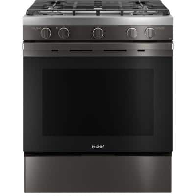 5.6 cu. ft. Smart Slide-in Gas Range with Self-Cleaning Convection in Black Stainless Steel, Fingerprint Resistant