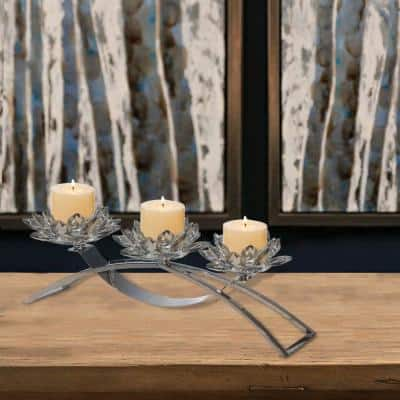 Contemporary Lotus Shaped Silver Glass Candle Holder with Metal Base