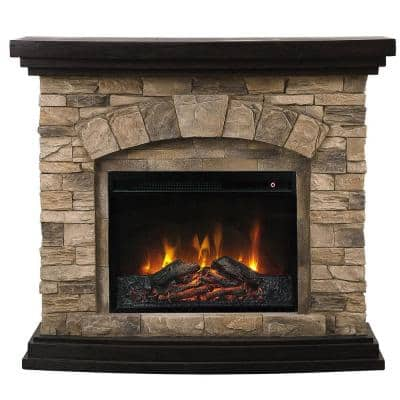 Vintage 45 in. Freestanding Electric Fireplace in Tan