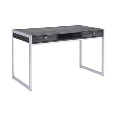 49 in. Rectangular Chrome 2 Drawer Writing Desk with Built-In Storage