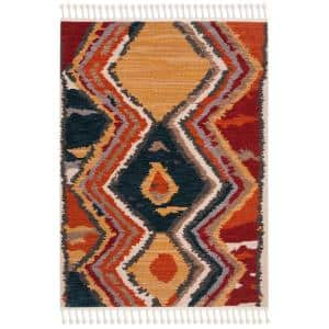 Farmhouse Yellow/Red 4 ft. x 5 ft. Geometric Area Rug