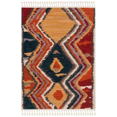 Farmhouse Yellow/Red 5 ft. x 7 ft. Geometric Area Rug