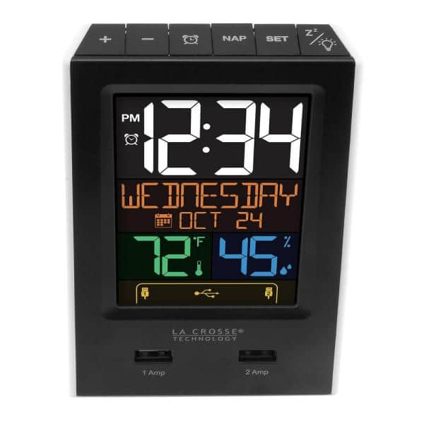 La Crosse Technology - Desktop Dual USB Charging Clock with Alarm and Nap Timer