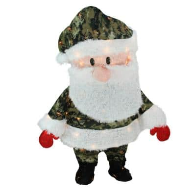 32 in. Christmas Pre-Lit Lane Camo Santa Claus Outdoor Decoration with Clear Lights