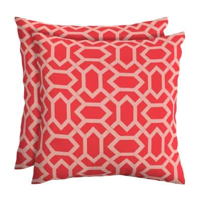 CushionGuard Ruby Hex Square Outdoor Throw Pillow (2-Pack)