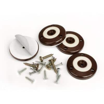 2 in. Round Chocolate Brown Furniture Feet Floor Protectors with Non Slip Rubber Grip (Set of 4 )