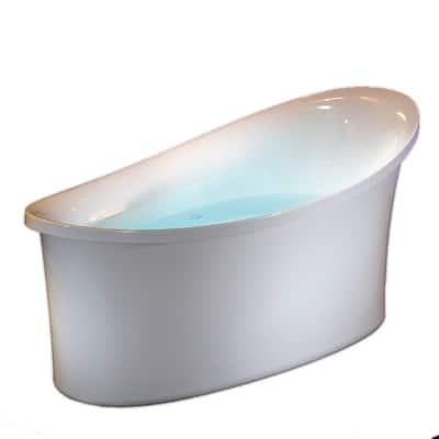 71 in. White Acrylic Flat-Bottom Air Bath Bathtub