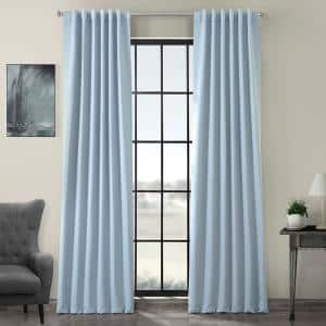 Frosted Blue Rod Pocket Blackout Curtain - 50 in. W x 108 in. L