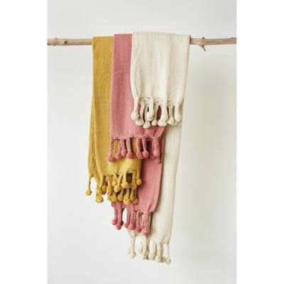 Cream Cotton Throw Blanket with Pom Poms