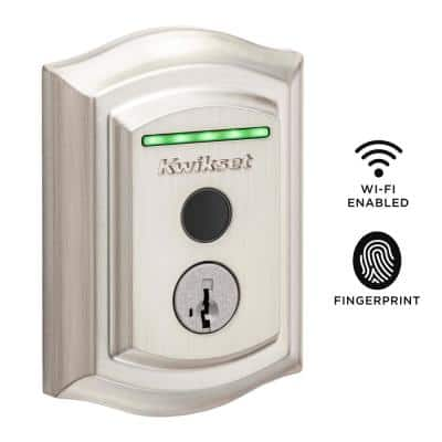 Halo Touch Satin Nickel Traditional Fingerprint Wi-Fi Electronic Smart Lock Deadbolt Featuring SmartKey Security