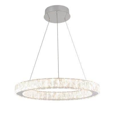 Celebrity 20-Watt Integrated LED Chrome Pendant with Clear Crystals