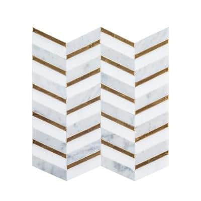 Dreamcicle White 11.875 in. x 11.875 in. Chevron Marble/Gold Metal Floor and Wall Mosaic Tile  (0.979 sq. ft./Each)