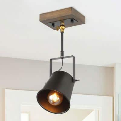 1-Light Modern Farmhouse Black Track Lighting Head Adjustable Wood Wall Sconce Pendant Light