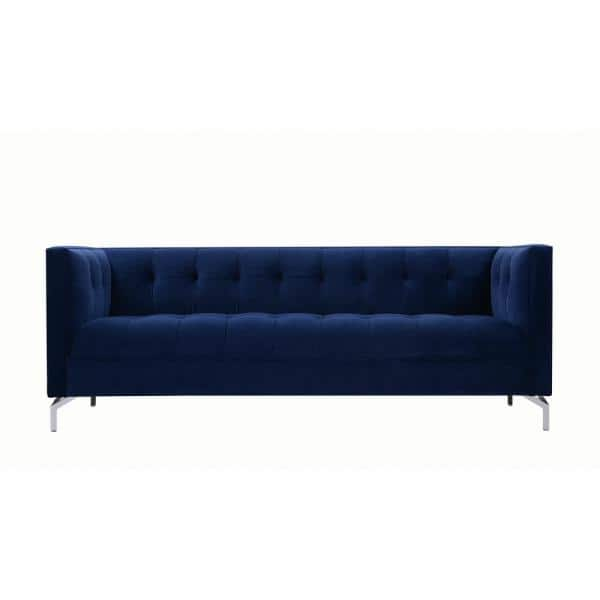 Jennifer Taylor Jackson 84 in. Navy Blue Velvet 3-Seater Tuxedo Sofa with Square Arms | The Home Depot