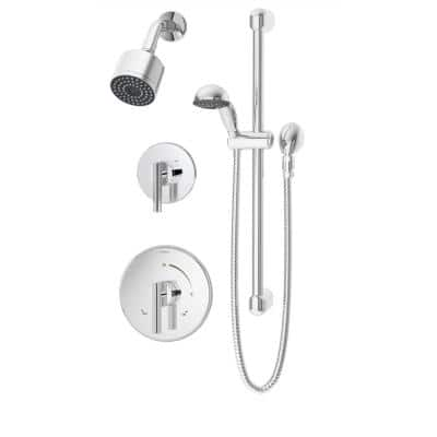 Dia 1-Handle Wall-Mounted Shower Trim Kit in Polished Chrome with Hand Shower (Valve Not Included)