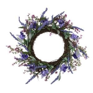 18 in. Purple Lavender and Flower Spring Wreath